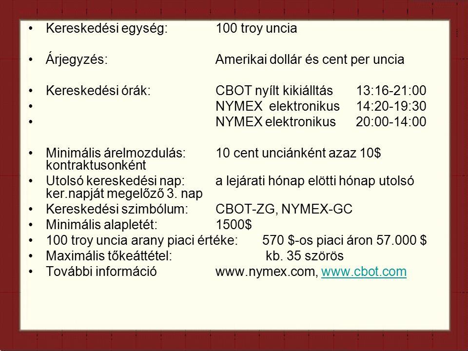 Kereskedési egység:100 troy uncia Árjegyzés:Amerikai dollár és cent per uncia Kereskedési órák:CBOT nyílt kikiálltás13:16-21:00 NYMEX elektronikus14:20-19:30 NYMEX elektronikus20:00-14:00 Minimális árelmozdulás:10 cent unciánként azaz 10$ kontraktusonként Utolsó kereskedési nap: a lejárati hónap elötti hónap utolsó ker.napját megelőző 3.