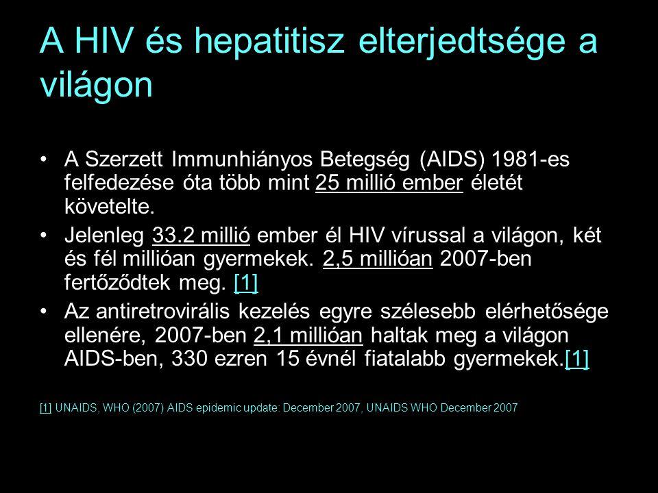 A HIV és hepatitisz elterjedtsége a világon A Szerzett Immunhiányos Betegség (AIDS) 1981-es felfedezése óta több mint 25 millió ember életét követelte.