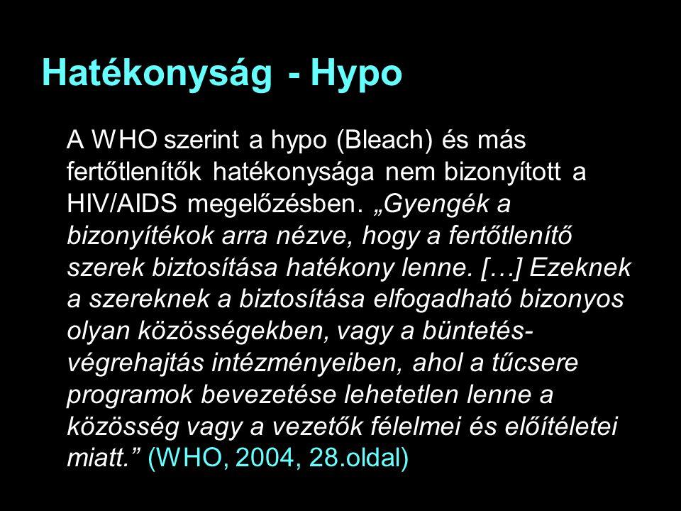 Hatékonyság - Hypo A WHO szerint a hypo (Bleach) és más fertőtlenítők hatékonysága nem bizonyított a HIV/AIDS megelőzésben.