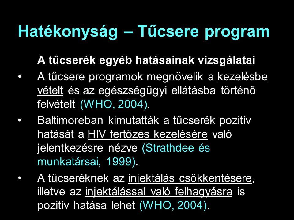 Hatékonyság – Tűcsere program A tűcserék egyéb hatásainak vizsgálatai A tűcsere programok megnövelik a kezelésbe vételt és az egészségügyi ellátásba történő felvételt (WHO, 2004).