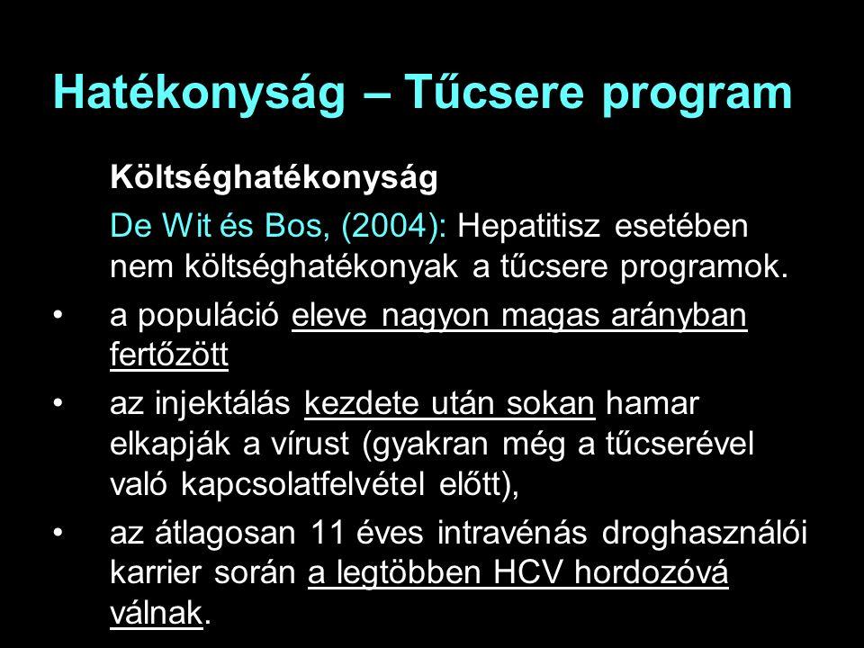 Hatékonyság – Tűcsere program Költséghatékonyság De Wit és Bos, (2004): Hepatitisz esetében nem költséghatékonyak a tűcsere programok.