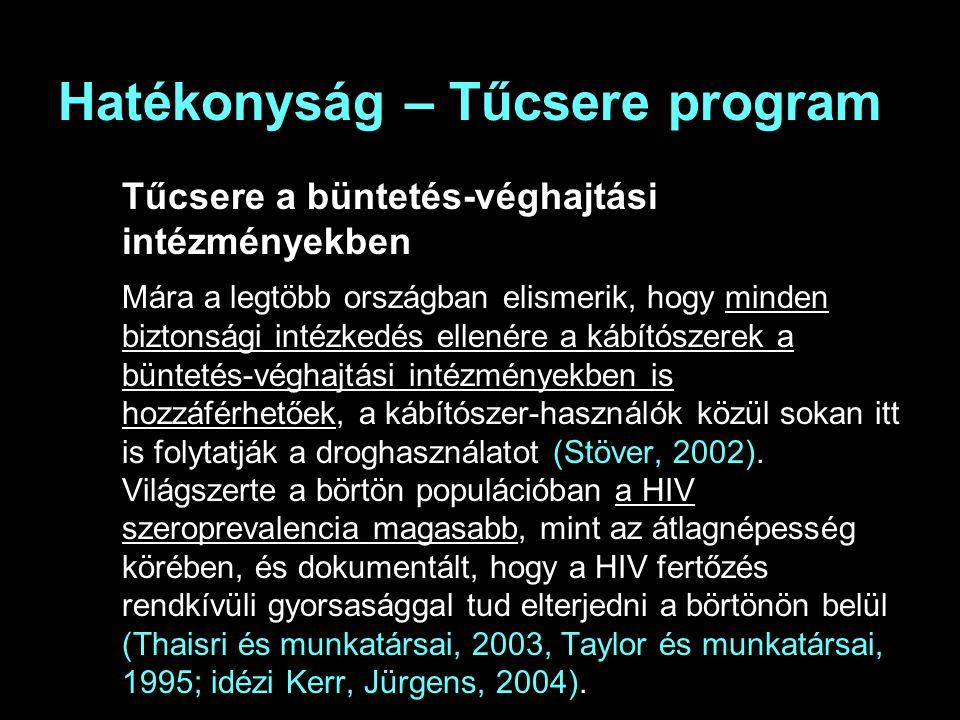 Hatékonyság – Tűcsere program Tűcsere a büntetés-véghajtási intézményekben Mára a legtöbb országban elismerik, hogy minden biztonsági intézkedés ellenére a kábítószerek a büntetés-véghajtási intézményekben is hozzáférhetőek, a kábítószer-használók közül sokan itt is folytatják a droghasználatot (Stöver, 2002).