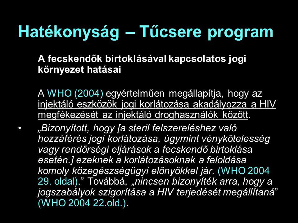Hatékonyság – Tűcsere program A fecskendők birtoklásával kapcsolatos jogi környezet hatásai A WHO (2004) egyértelműen megállapítja, hogy az injektáló eszközök jogi korlátozása akadályozza a HIV megfékezését az injektáló droghasználók között.