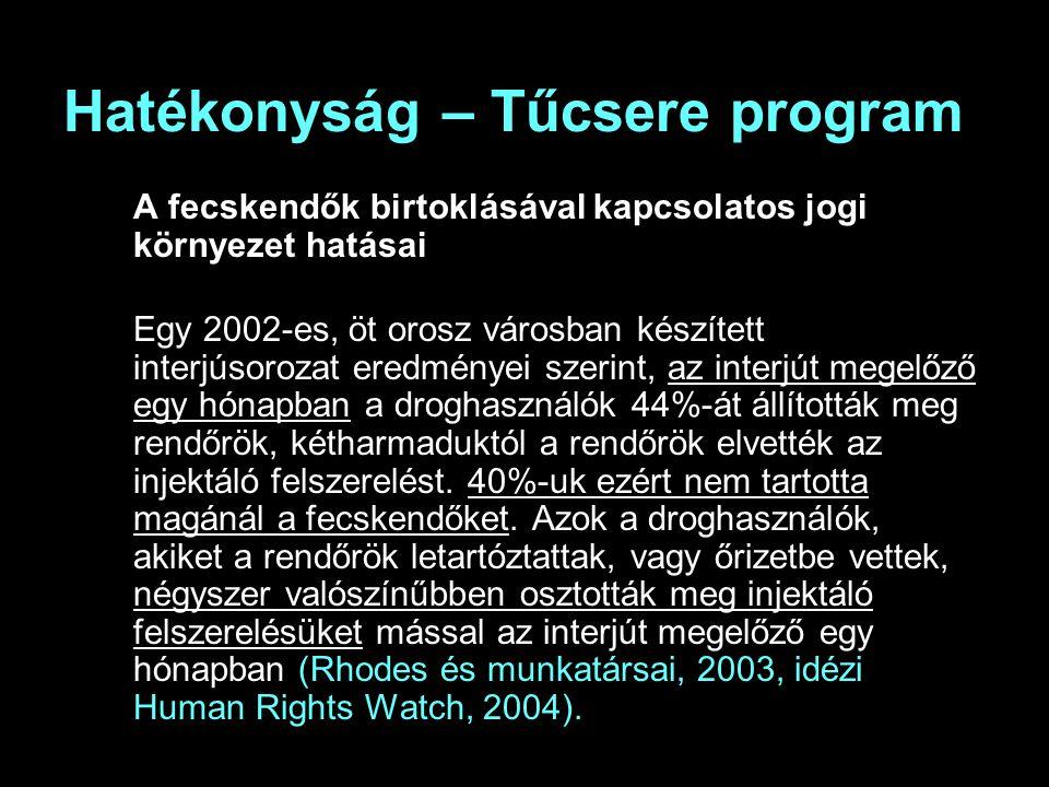Hatékonyság – Tűcsere program A fecskendők birtoklásával kapcsolatos jogi környezet hatásai Egy 2002-es, öt orosz városban készített interjúsorozat eredményei szerint, az interjút megelőző egy hónapban a droghasználók 44%-át állították meg rendőrök, kétharmaduktól a rendőrök elvették az injektáló felszerelést.