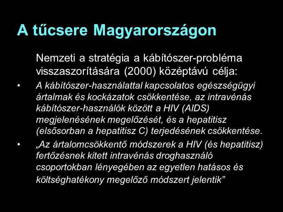 A tűcsere Magyarországon Nemzeti a stratégia a kábítószer-probléma visszaszorítására (2000) középtávú célja: A kábítószer-használattal kapcsolatos egészségügyi ártalmak és kockázatok csökkentése, az intravénás kábítószer-használók között a HIV (AIDS) megjelenésének megelőzését, és a hepatitisz (elsősorban a hepatitisz C) terjedésének csökkentése.