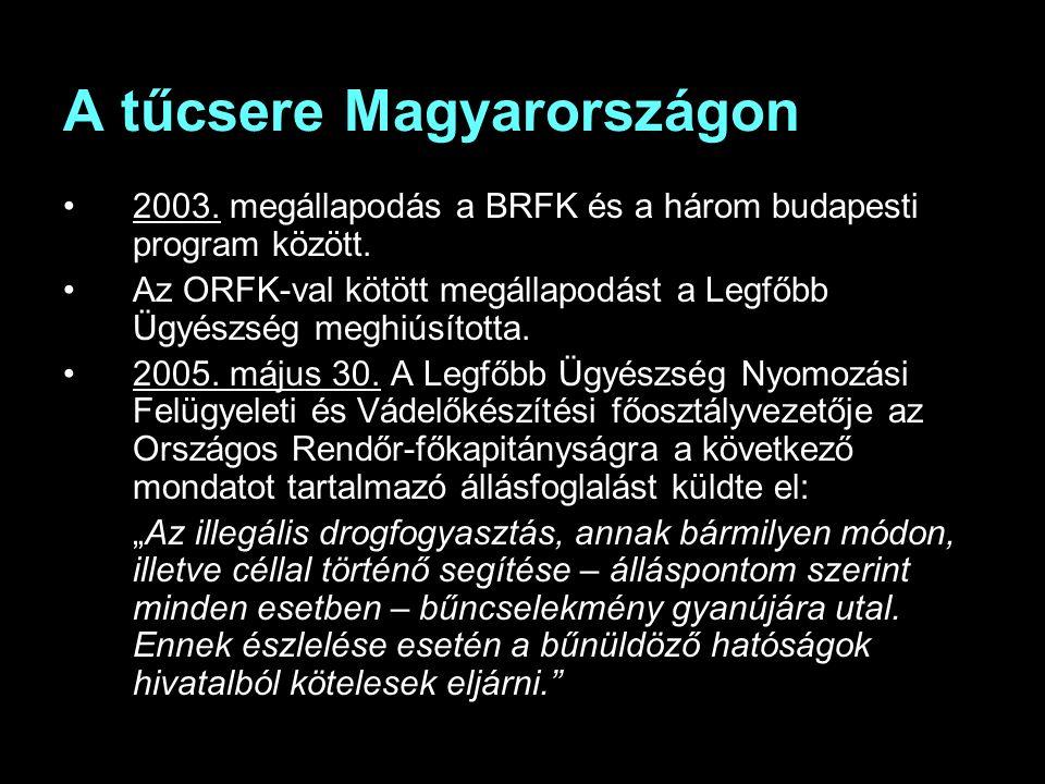 A tűcsere Magyarországon 2003. megállapodás a BRFK és a három budapesti program között.
