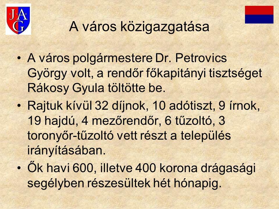 A város közigazgatása A város polgármestere Dr. Petrovics György volt, a rendőr főkapitányi tisztséget Rákosy Gyula töltötte be. Rajtuk kívül 32 díjno