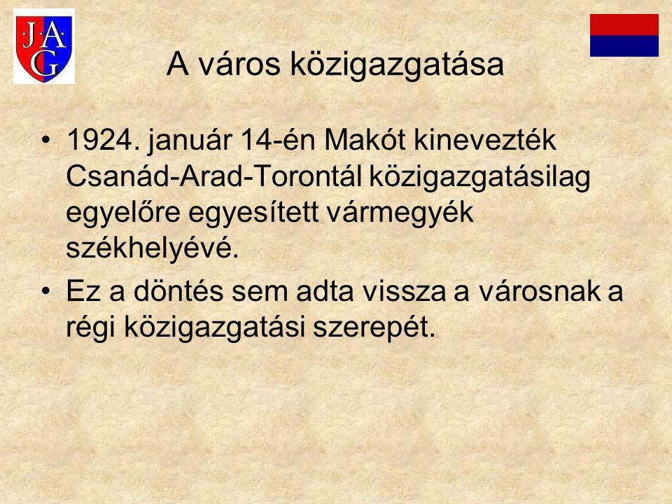 A város közigazgatása 1924. január 14-én Makót kinevezték Csanád-Arad-Torontál közigazgatásilag egyelőre egyesített vármegyék székhelyévé. Ez a döntés