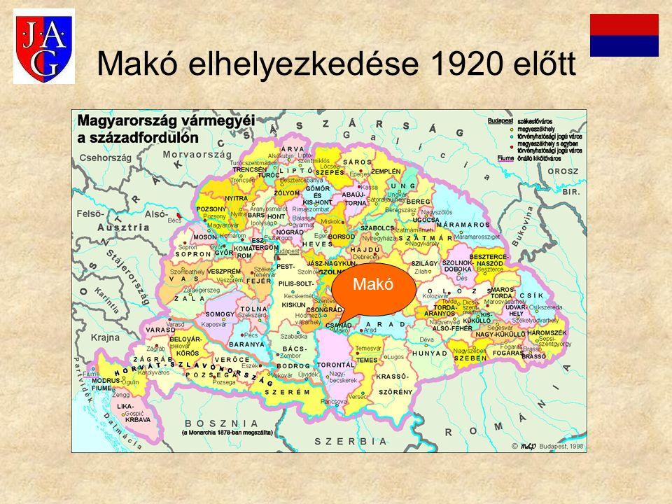 Makó elhelyezkedése 1920 után Makó