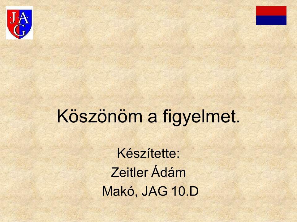 Köszönöm a figyelmet. Készítette: Zeitler Ádám Makó, JAG 10.D