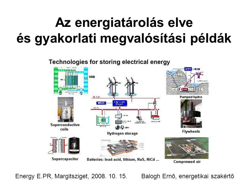 Az energiatárolás elve és gyakorlati megvalósítási példák Energy E.PR, Margitsziget, 2008.