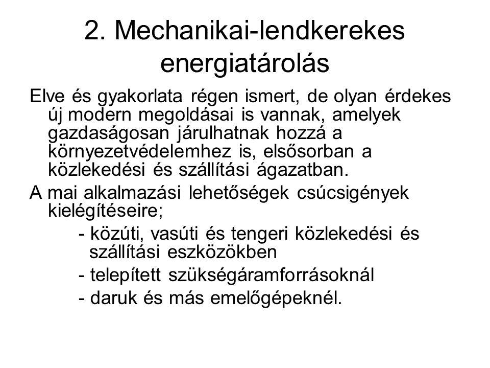2. Mechanikai-lendkerekes energiatárolás Elve és gyakorlata régen ismert, de olyan érdekes új modern megoldásai is vannak, amelyek gazdaságosan járulh
