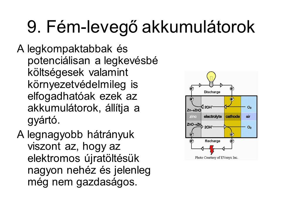 9. Fém-levegő akkumulátorok A legkompaktabbak és potenciálisan a legkevésbé költségesek valamint környezetvédelmileg is elfogadhatóak ezek az akkumulá