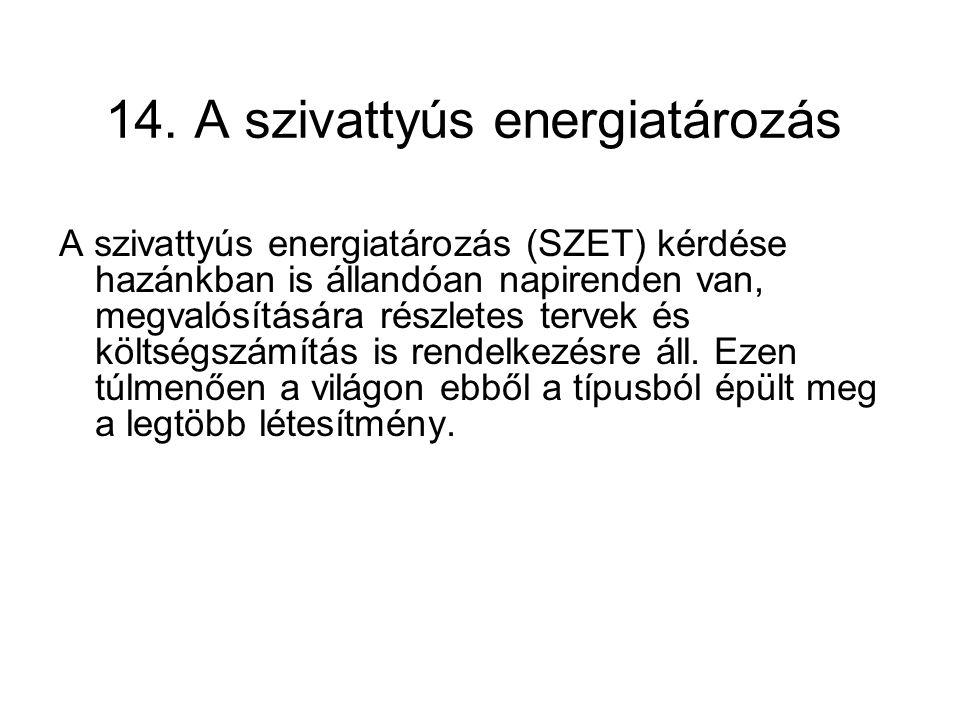 14. A szivattyús energiatározás A szivattyús energiatározás (SZET) kérdése hazánkban is állandóan napirenden van, megvalósítására részletes tervek és