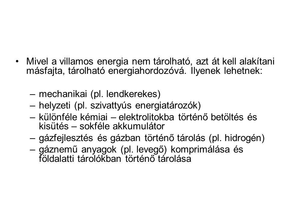 Mivel a villamos energia nem tárolható, azt át kell alakítani másfajta, tárolható energiahordozóvá.
