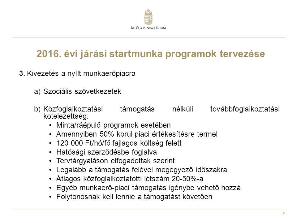 10 2016. évi járási startmunka programok tervezése 3.