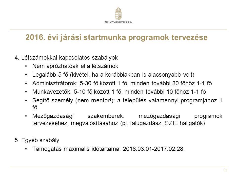 11 2016. évi járási startmunka programok tervezése 4.