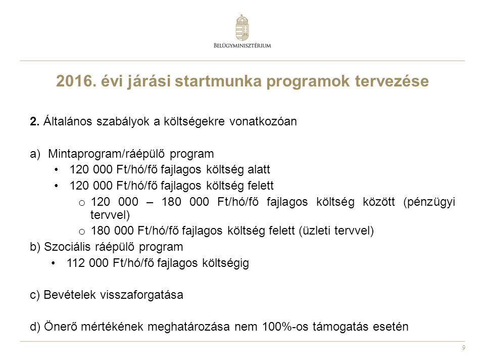 9 2016. évi járási startmunka programok tervezése 2.