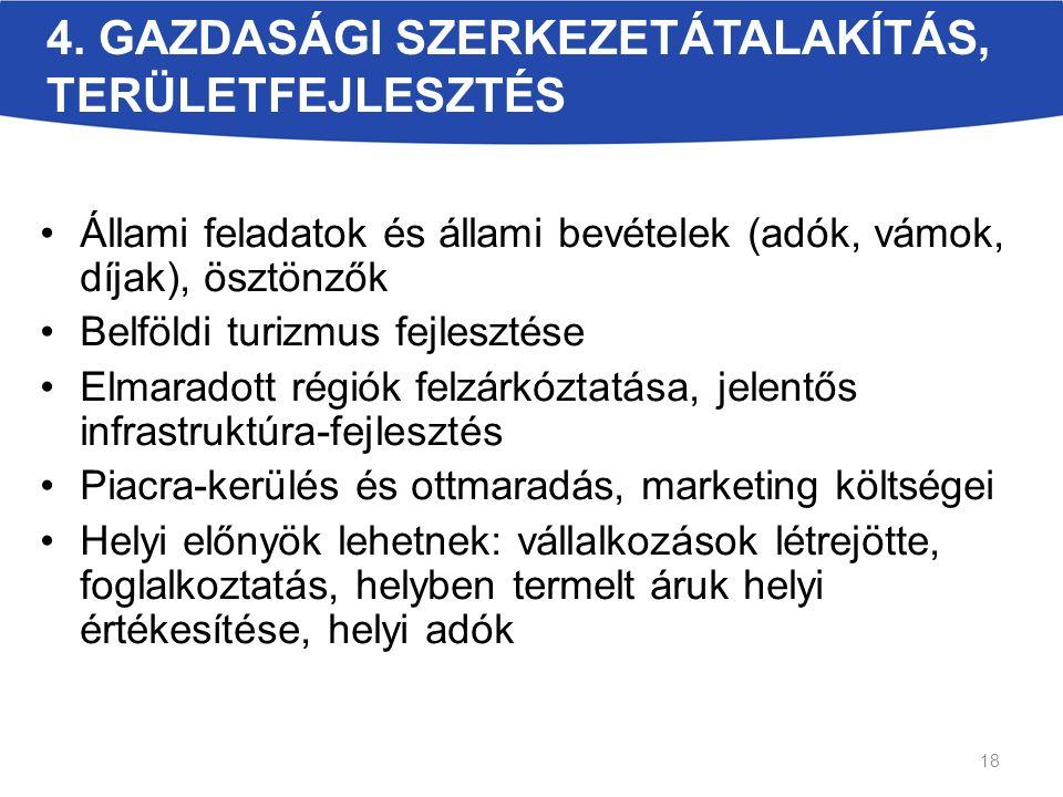 4. GAZDASÁGI SZERKEZETÁTALAKÍTÁS, TERÜLETFEJLESZTÉS Állami feladatok és állami bevételek (adók, vámok, díjak), ösztönzők Belföldi turizmus fejlesztése