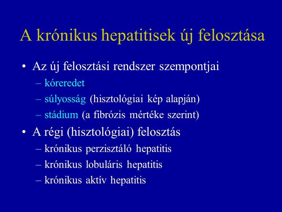 A krónikus hepatitisek új felosztása Az új felosztási rendszer szempontjai –kóreredet –súlyosság (hisztológiai kép alapján) –stádium (a fibrózis mértéke szerint) A régi (hisztológiai) felosztás –krónikus perzisztáló hepatitis –krónikus lobuláris hepatitis –krónikus aktív hepatitis