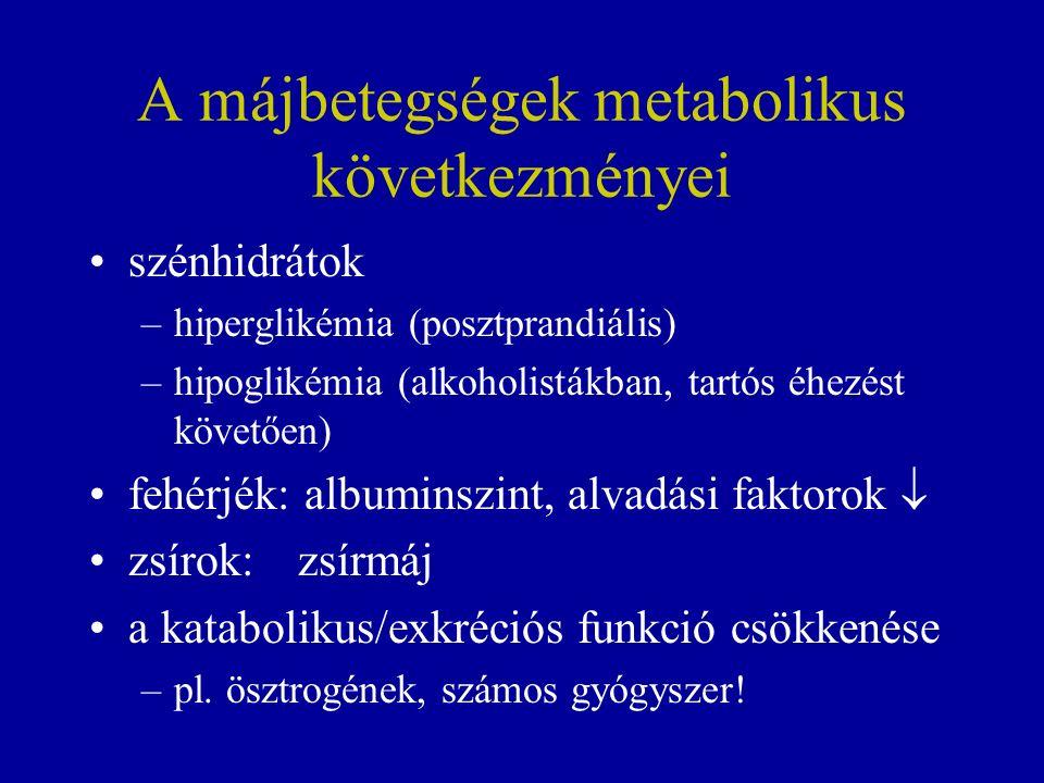 A májbetegségek metabolikus következményei szénhidrátok –hiperglikémia (posztprandiális) –hipoglikémia (alkoholistákban, tartós éhezést követően) fehérjék: albuminszint, alvadási faktorok  zsírok:zsírmáj a katabolikus/exkréciós funkció csökkenése –pl.