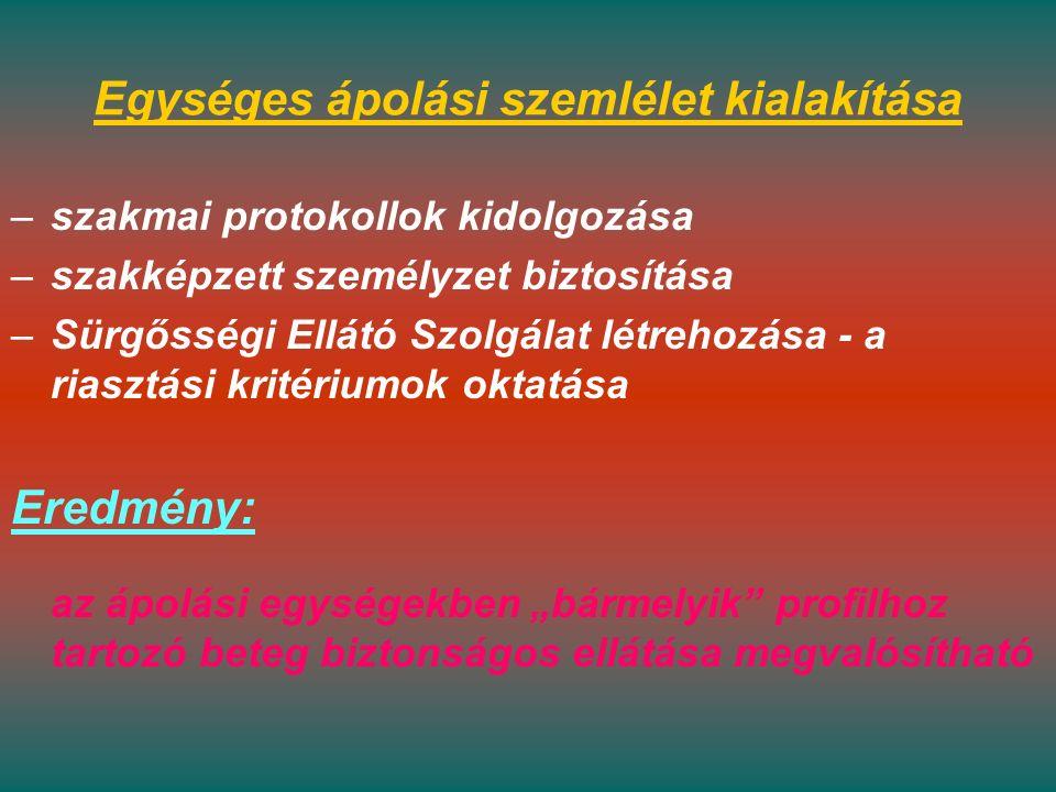 """Egységes ápolási szemlélet kialakítása –szakmai protokollok kidolgozása –szakképzett személyzet biztosítása –Sürgősségi Ellátó Szolgálat létrehozása - a riasztási kritériumok oktatása Eredmény: az ápolási egységekben """"bármelyik profilhoz tartozó beteg biztonságos ellátása megvalósítható"""