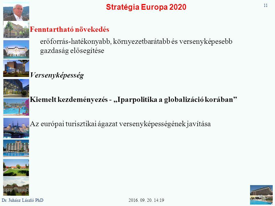 """Stratégia Europa 2020 Fenntartható növekedés erőforrás-hatékonyabb, környezetbarátabb és versenyképesebb gazdaság elősegítése Versenyképesség Kiemelt kezdeményezés - """"Iparpolitika a globalizáció korában Az európai turisztikai ágazat versenyképességének javítása 11 2016."""
