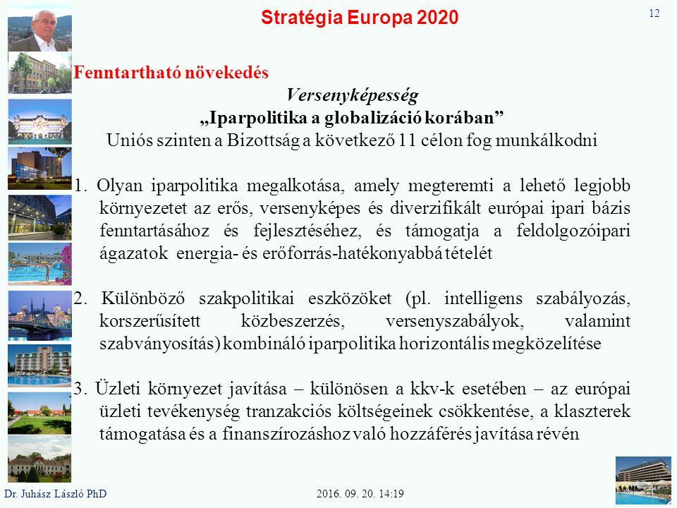 """Stratégia Europa 2020 Fenntartható növekedés Versenyképesség """"Iparpolitika a globalizáció korában"""" Uniós szinten a Bizottság a következő 11 célon fog"""