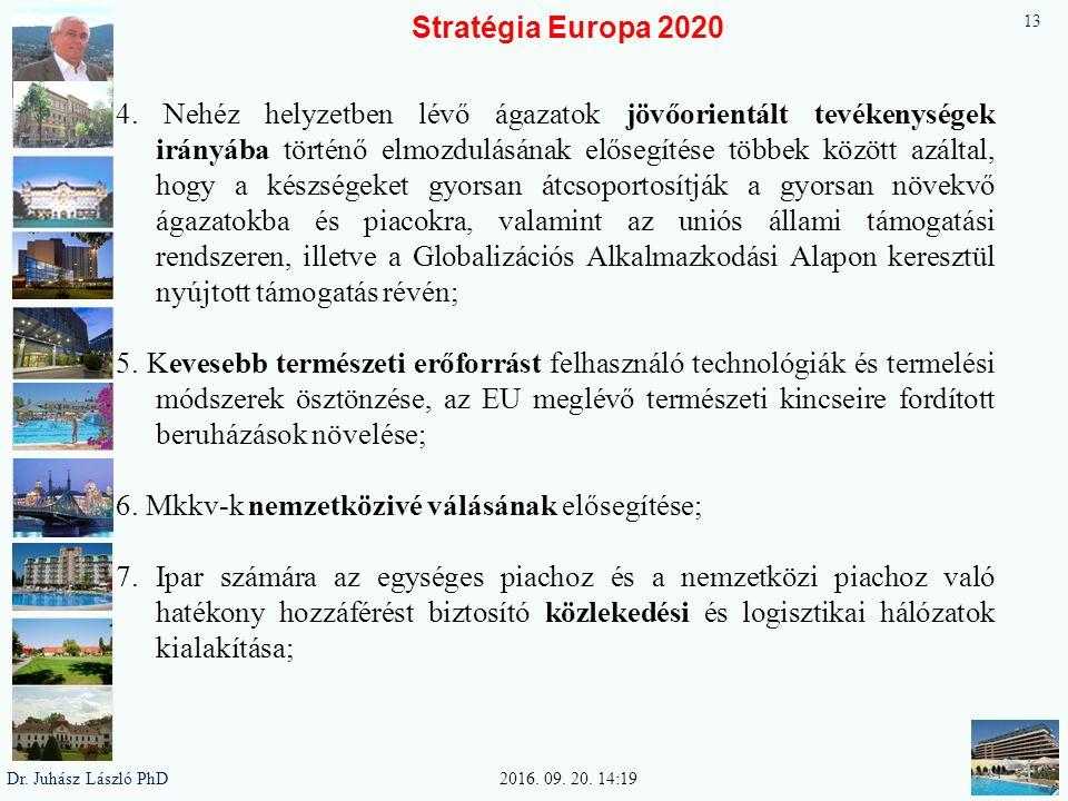 Stratégia Europa 2020 4. Nehéz helyzetben lévő ágazatok jövőorientált tevékenységek irányába történő elmozdulásának elősegítése többek között azáltal,