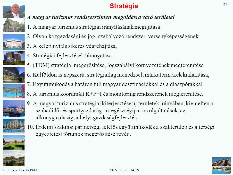 Stratégia A magyar turizmus rendszerszinten megoldásra váró területei 1. A magyar turizmus stratégiai irányításának megújítása. 2. Olyan közgazdasági