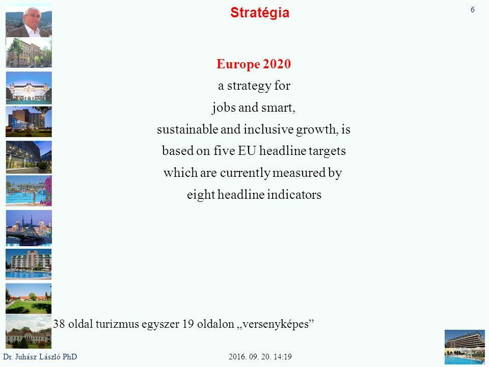 Stratégia Europa 2020 Hogyan képzeljük el Európa helyzetét 2020-ban Európa 2020 stratégia középpontjában három prioritásnak kell állnia – Intelligens növekedés – a tudásra és az innovációra épülő gazdaság kialakítása (Innováció, oktatás, digitális társadalom) – Fenntartható növekedés – erőforrás-hatékonyabb, környezetbarátabb és versenyképesebb gazdaság elősegítése.