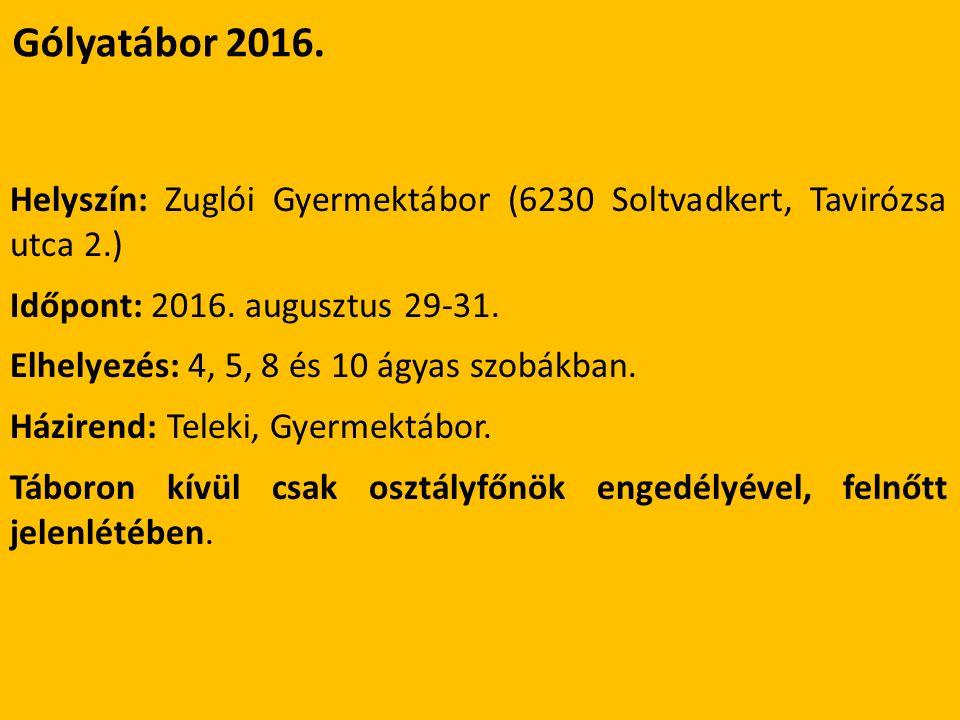 Gólyatábor 2016. Helyszín: Zuglói Gyermektábor (6230 Soltvadkert, Tavirózsa utca 2.) Időpont: 2016.