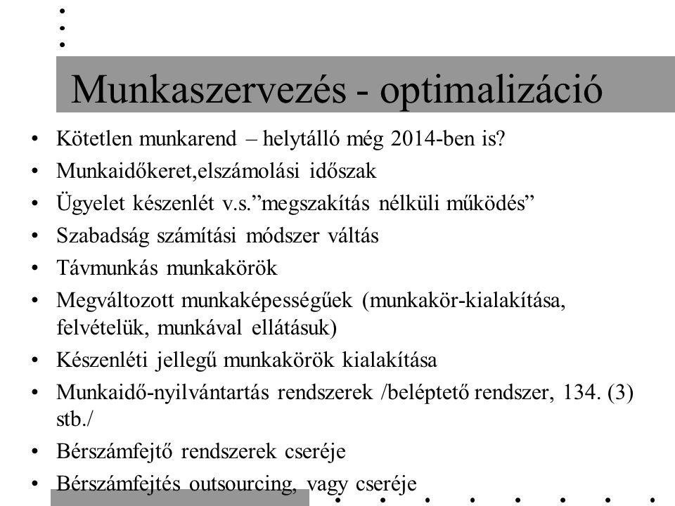 Munkaszervezés - optimalizáció Kötetlen munkarend – helytálló még 2014-ben is.
