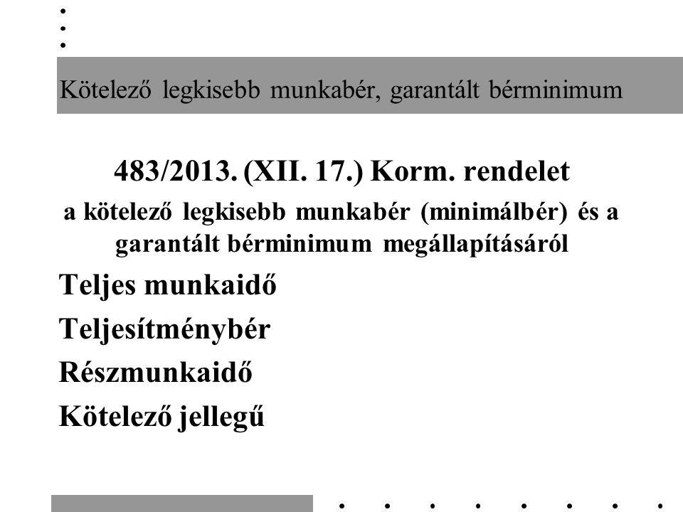 Kötelező legkisebb munkabér, garantált bérminimum 483/2013.