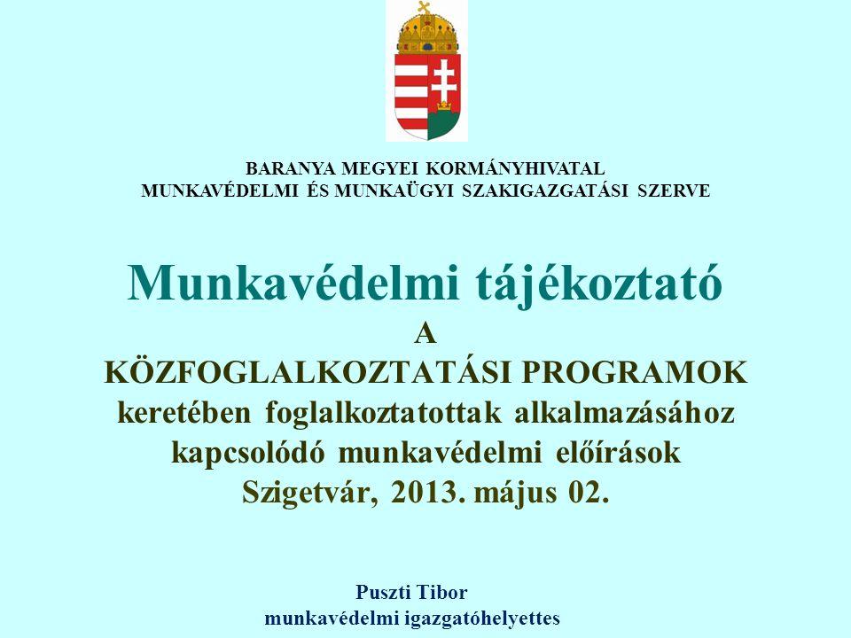 Munkavédelmi tájékoztató A KÖZFOGLALKOZTATÁSI PROGRAMOK keretében foglalkoztatottak alkalmazásához kapcsolódó munkavédelmi előírások Szigetvár, 2013.
