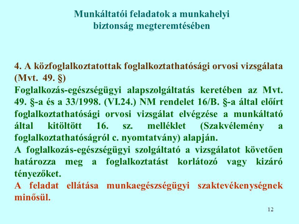 4. A közfoglalkoztatottak foglalkoztathatósági orvosi vizsgálata (Mvt.