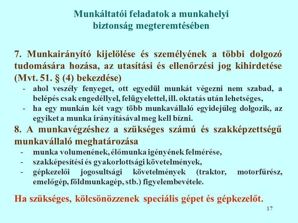 7. Munkairányító kijelölése és személyének a többi dolgozó tudomására hozása, az utasítási és ellenőrzési jog kihirdetése (Mvt. 51. § (4) bekezdése) -