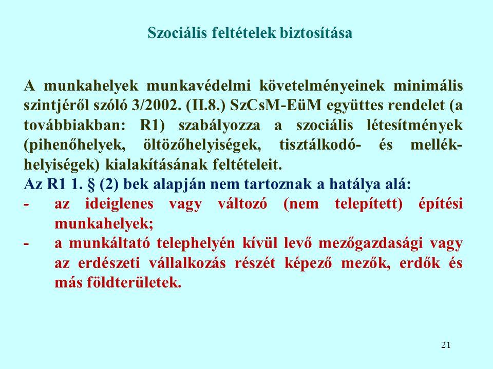 A munkahelyek munkavédelmi követelményeinek minimális szintjéről szóló 3/2002.