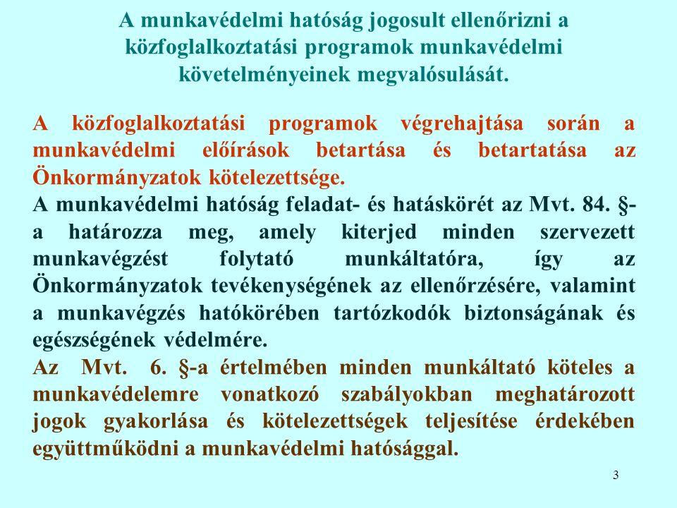 A közfoglalkoztatási programok végrehajtása során a munkavédelmi előírások betartása és betartatása az Önkormányzatok kötelezettsége.