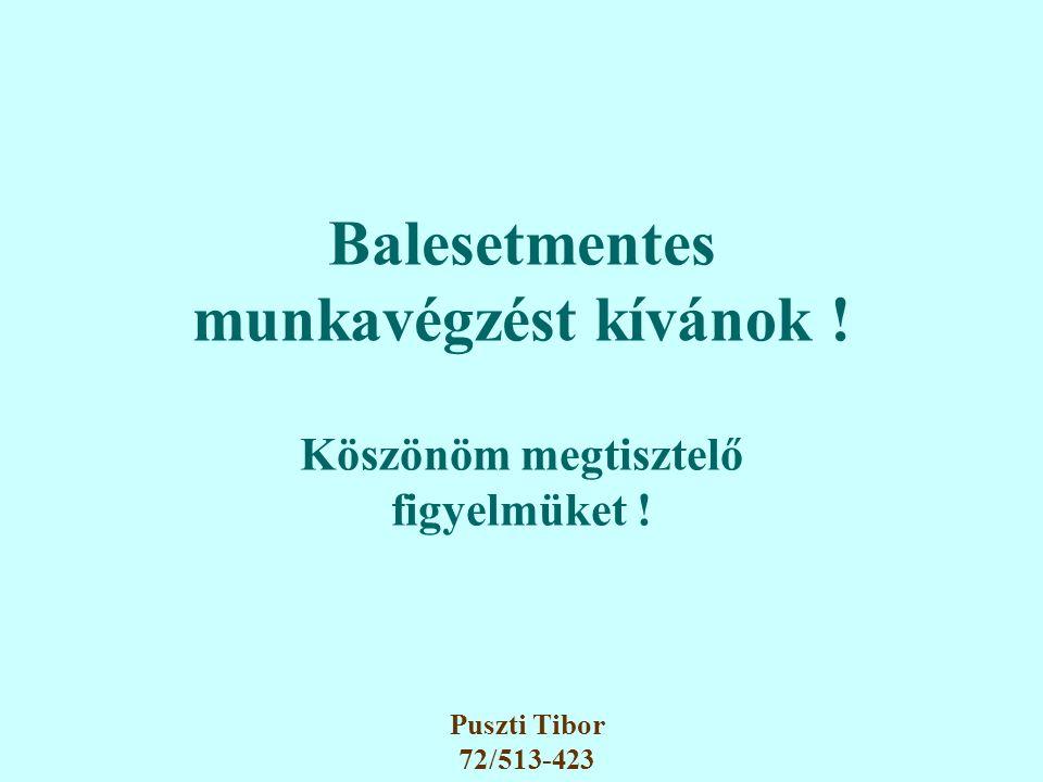 Balesetmentes munkavégzést kívánok ! Köszönöm megtisztelő figyelmüket ! Puszti Tibor 72/513-423