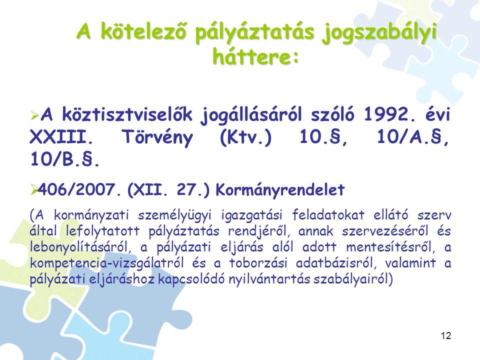 12 A kötelező pályáztatás jogszabályi háttere:  A köztisztviselők jogállásáról szóló 1992.