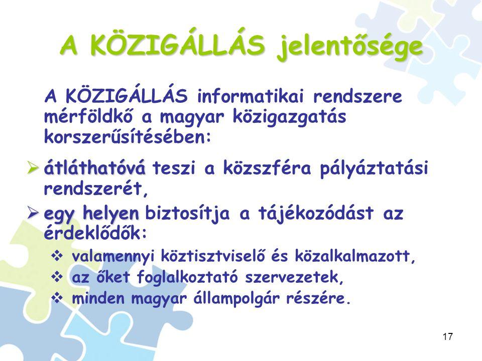 17 A KÖZIGÁLLÁS jelentősége A KÖZIGÁLLÁS informatikai rendszere mérföldkő a magyar közigazgatás korszerűsítésében:  átláthatóvá  átláthatóvá teszi a közszféra pályáztatási rendszerét,  egy helyen  egy helyen biztosítja a tájékozódást az érdeklődők:  valamennyi köztisztviselő és közalkalmazott,  az őket foglalkoztató szervezetek,  minden magyar állampolgár részére.