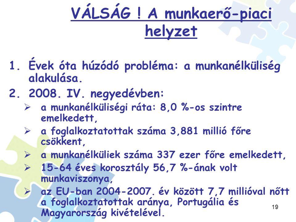 19 VÁLSÁG . A munkaerő-piaci helyzet 1.Évek óta húzódó probléma: a munkanélküliség alakulása.