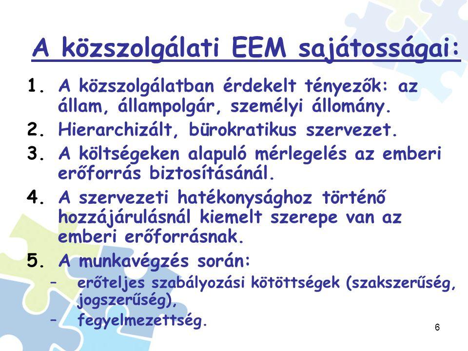 6 A közszolgálati EEM sajátosságai: 1.A közszolgálatban érdekelt tényezők: az állam, állampolgár, személyi állomány.