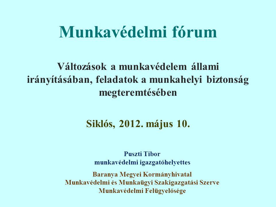 Munkavédelmi fórum Változások a munkavédelem állami irányításában, feladatok a munkahelyi biztonság megteremtésében Siklós, 2012.