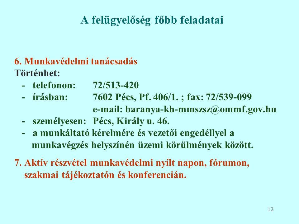 6. Munkavédelmi tanácsadás Történhet: - telefonon:72/513-420 - írásban:7602 Pécs, Pf.