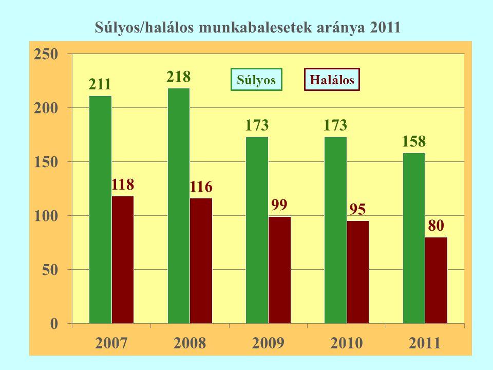 Súlyos/halálos munkabalesetek aránya 2011 SúlyosHalálos