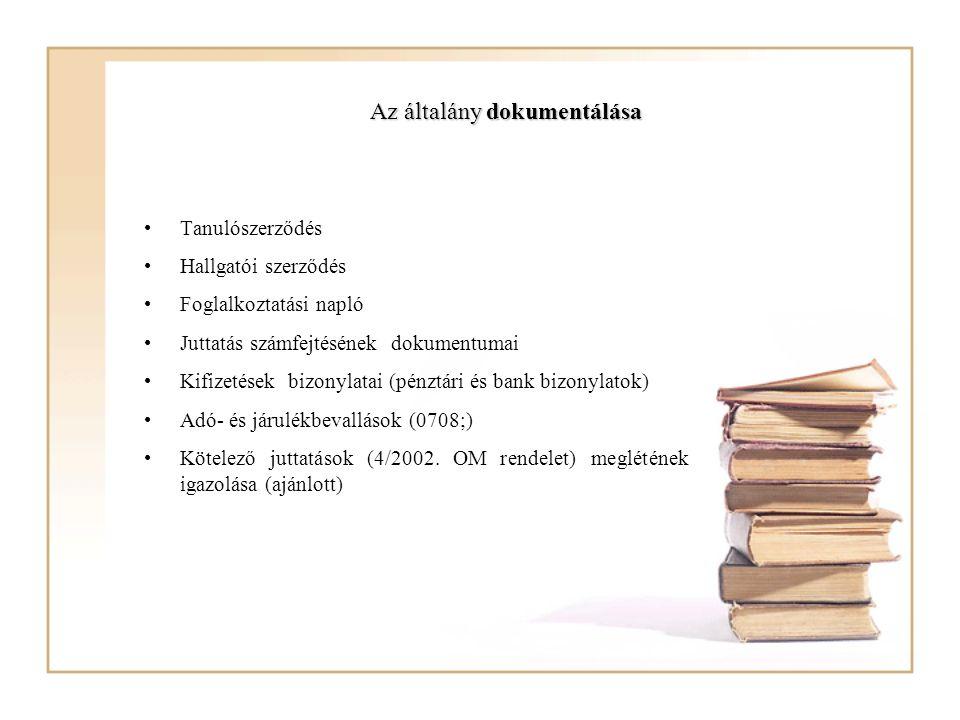 Az általány dokumentálása Tanulószerződés Hallgatói szerződés Foglalkoztatási napló Juttatás számfejtésének dokumentumai Kifizetések bizonylatai (pénz