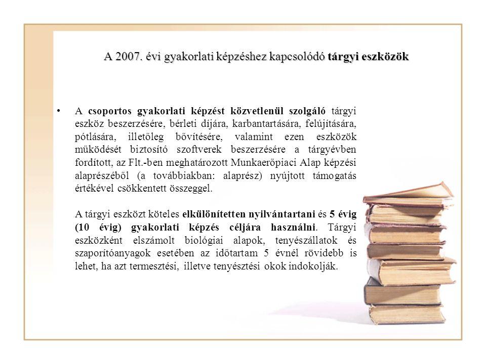 A 2007. évi gyakorlati képzéshez kapcsolódó tárgyi eszközök A csoportos gyakorlati képzést közvetlenül szolgáló tárgyi eszköz beszerzésére, bérleti dí