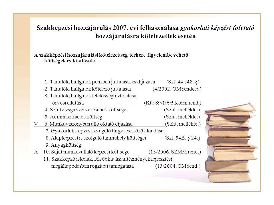 Szakképzési hozzájárulás 2007. évi felhasználása gyakorlati képzést folytató hozzájárulásra kötelezettek esetén A szakképzési hozzájárulási kötelezett